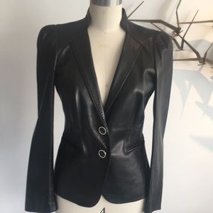 Gucci black leather blazer. No size label